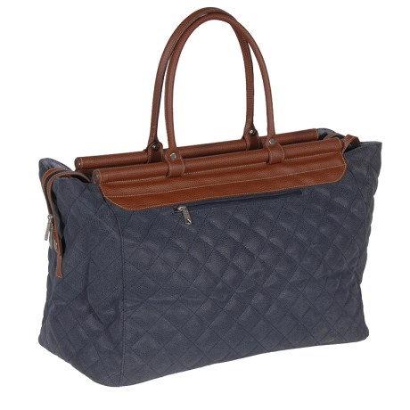 Blue Padded Bar Top Weekend Bag