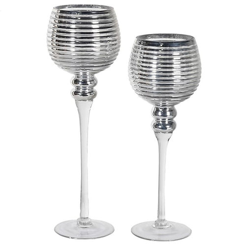 Set of 2 Silver Ribbed Candle Holders