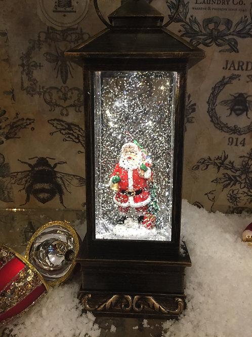 Santa Lantern Glitter Globe