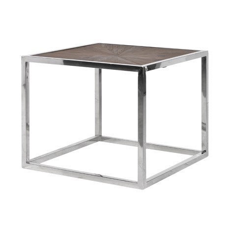 Steel Table with Wooden Inlaid Top