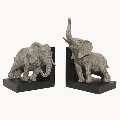 Set of 2 Grey Elephant Bookends