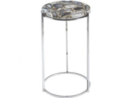 Agate Round Side Table on Nickel Frame