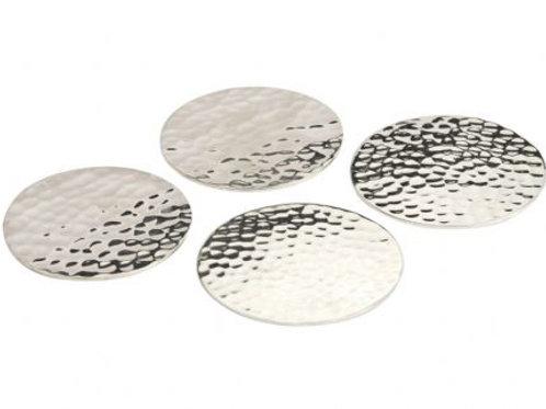 Set Of 4 Coasters Nickel Hammered