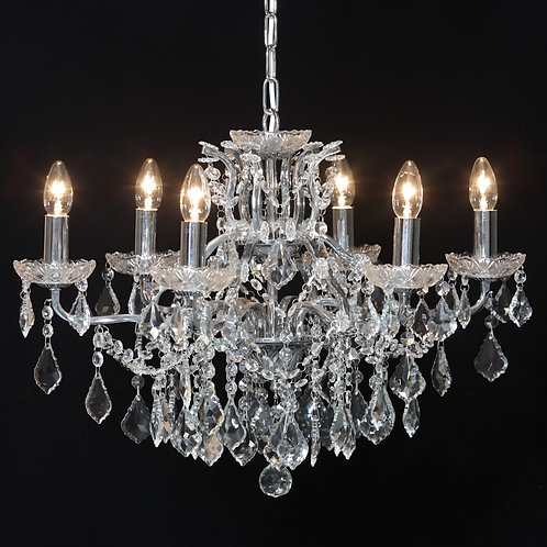 6 Arm Shallow Chandelier in Chrome