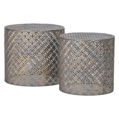 Set of 2 Cylindrical Iron End Tables
