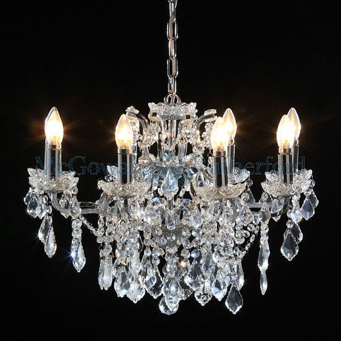 8 Arm Shallow Chandelier in Chrome