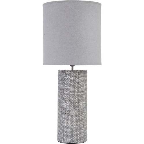 Grey Textured Porcelain Table Lamp With Shade