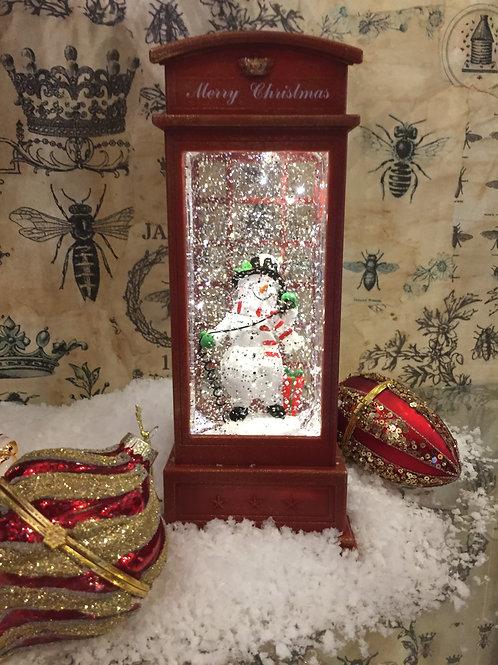 Snowman Phonebox Glitter Globe