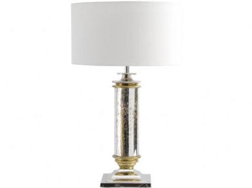 Antique Silver Column Glass Table Lamp