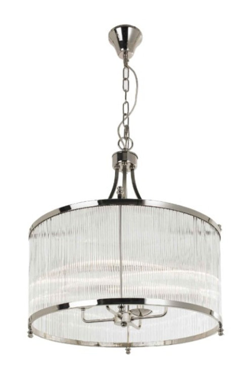 Nickel and Glass Ceiling Light
