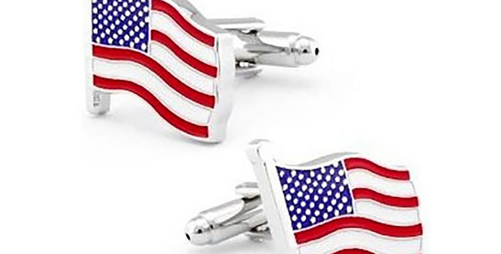 American Flag Cufflinks - In the Wind