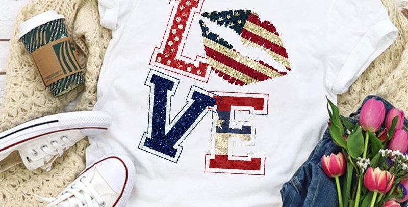 Women Graphic USA Flag American Patriotic Love Lip Star Summer T-Shirt