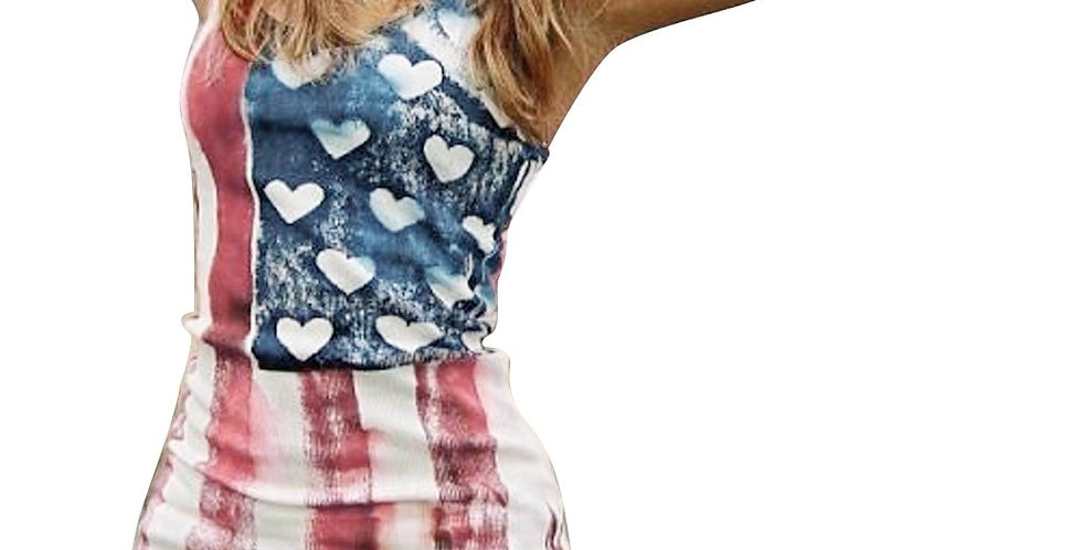 New Arrivals Womens Sleeveless Casual T-Shirt Vest American Flag With Hearts