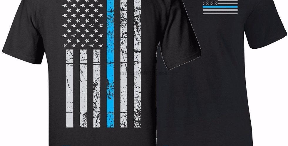 Hot Sale 100% Cotton THIN BLUE LINE FLAG POLICE LIVES MATTER T-Shirt