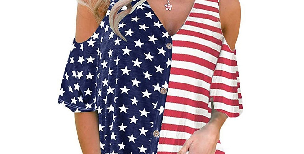 Womens 4th of July Cold Shoulder Button Down Summer Beach Top