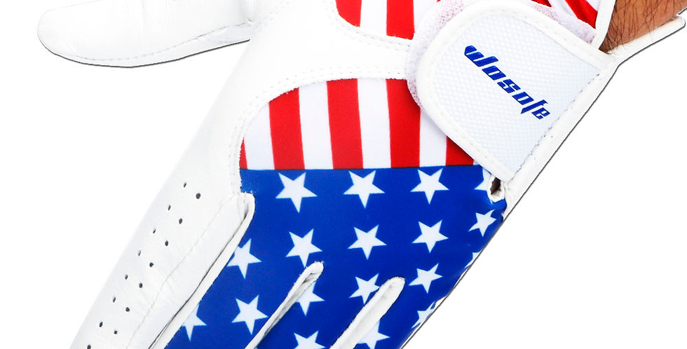 Men's Left Hand American Flag Golf Glove Soft Cabretta Leather Free Shipping
