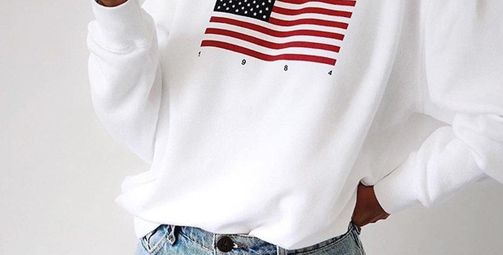American Flag Sweatshirt Womens Long Sleeve Patchwork Pullover