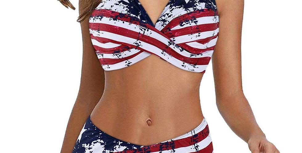 Women American Flag Two Pieces Bikini Set Swimwear Bodysuit High Waist
