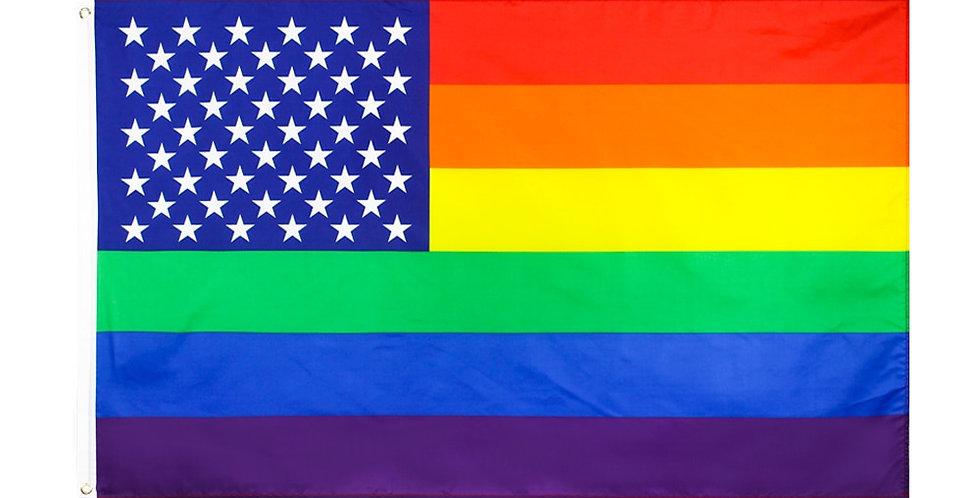 Johnin 90X150cm LGBT Homosexual Us American Gay Pride Rainbow Flag 3 X 5