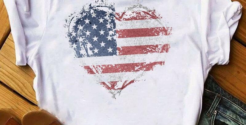 Women Shirt American Heart Printed Women USA Flag Love Top  Short Sleeve