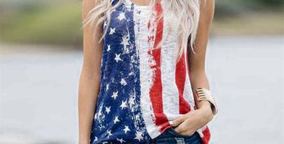 Womens Sleeveless Stars And Stripes American Flag Print Top Fashion T-Shirts