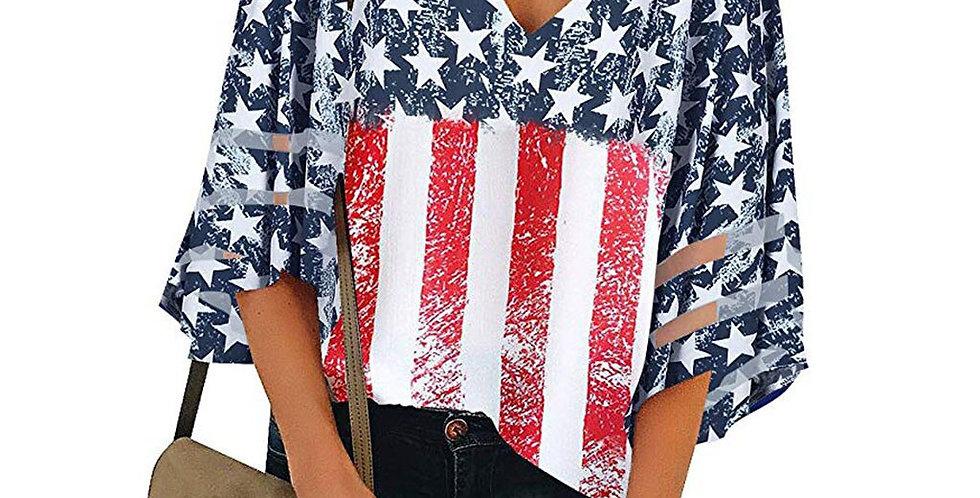 Women T Shirt American Flag v Neck Mesh Panel Streetwear Chemise Femme