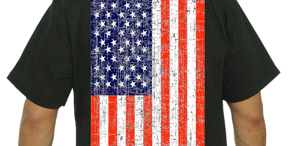 Men's Mechanic Work Shirt USA Flag Distressed Pride Jumbo