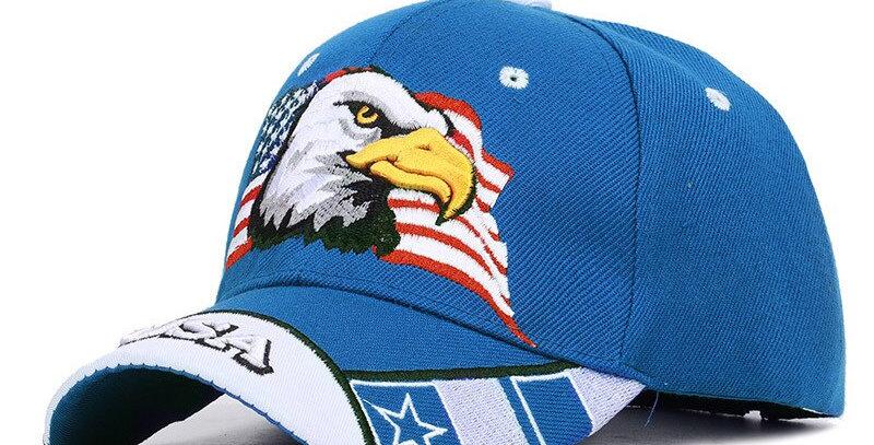 American Eagle and American Flag Baseball Cap USA 3D Embroidery