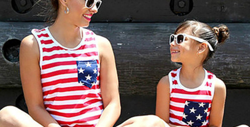 USA Flag Striped Vest Tops Mommy and Me Matching Outfits