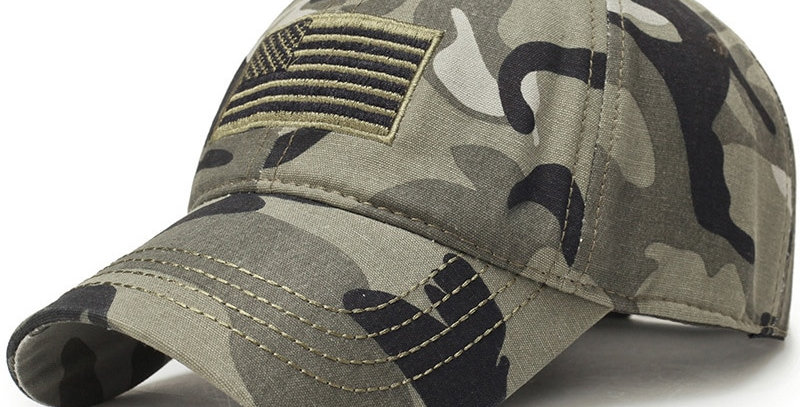 New Men USA Flag Camouflage Baseball Cap Army Embroidery Tactical Snapback