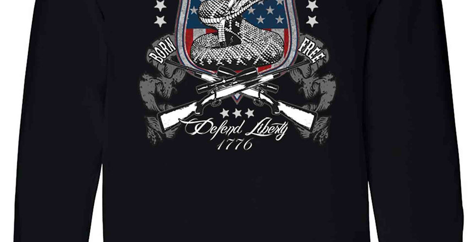 Unisex Long Sleeve Shirt USA Flag Don't Tread on Me Defend Liberty