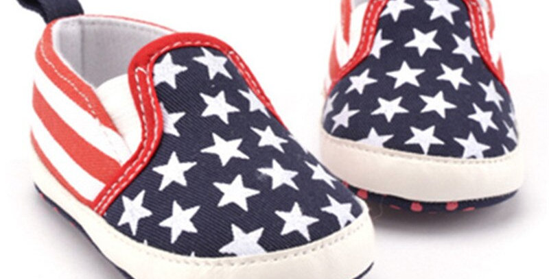 Non-Slip Toddler American Flag Pattern Crib Shoes Soft Sole First Walkers