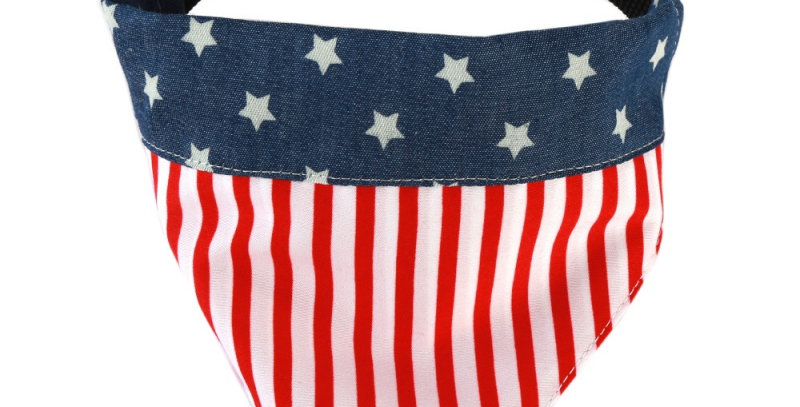 Dog Bandana American Flag Scarf Cotton Adjustable Bib  Puppy Decorative Collar