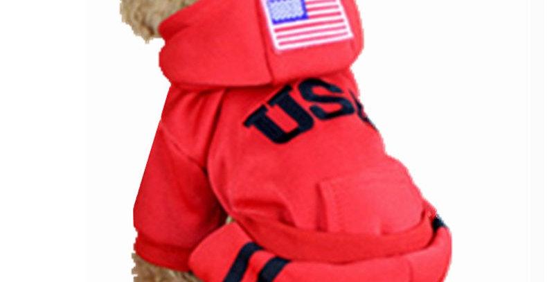 USA Winter Pet Dog Coats Jumpsuit 100% Cotton Jacket Hoodies Sport Clothing