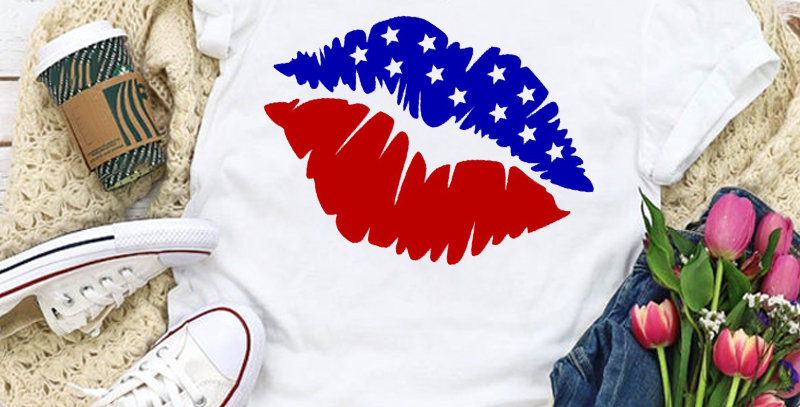copy of Women Graphic USA Flag American Patriotic Love Lip Star Summer T-Shirt