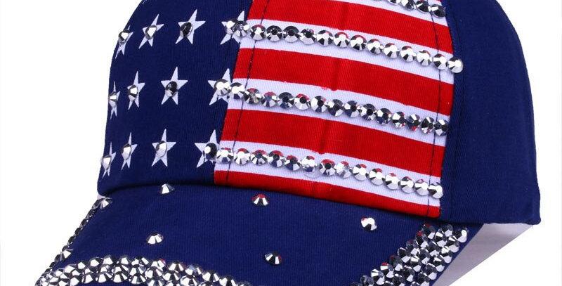 Rhinestone Stars And Stripes American Flag Baseball Cap Snap Back Navy Red Black