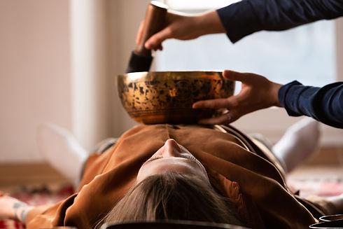 Woman making relaxing massage, meditatio