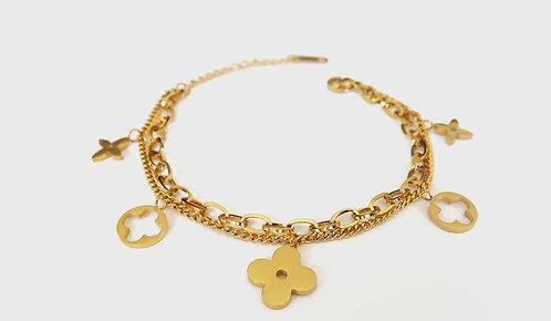 Plain Clover Detailed Double Chain Gold Plated Bracelet