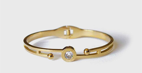 Single Stone Double Ended Gold  Plated Bracelet