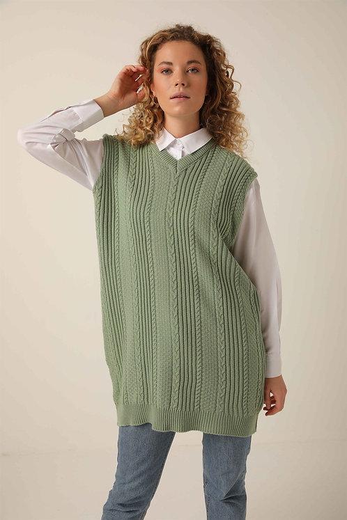 Cable knit long sweater vest