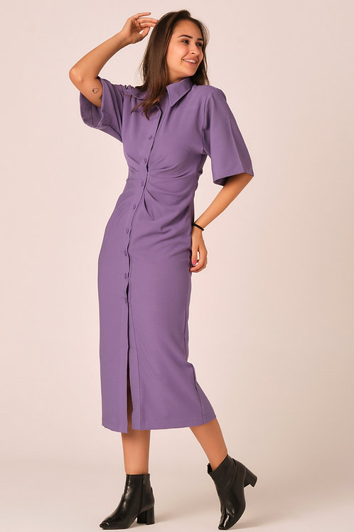 Shirt dress with short sleeves