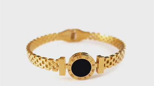 Cord Model Roman Numeral Gold Plated Bracelet
