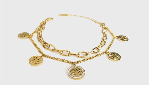 Double Chain Stone Tree of Life Gold Plated Bracelet