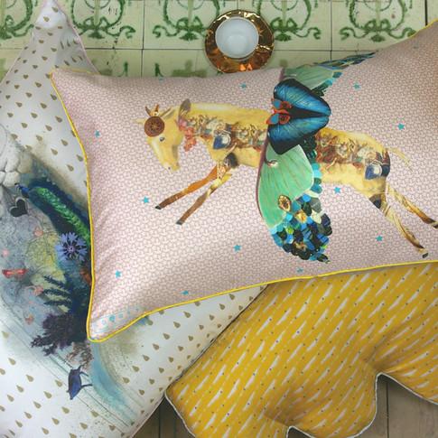 Illustrated silk cushions