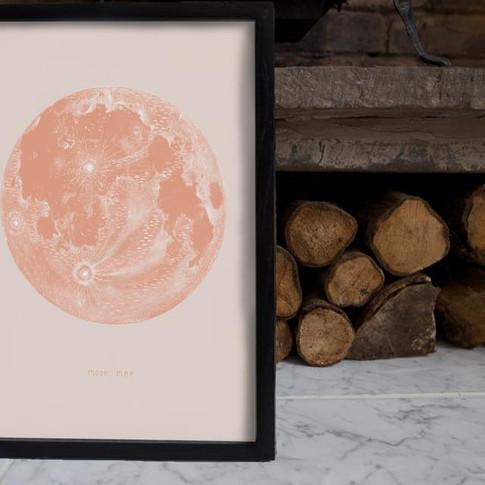 Blush pink Moon Map