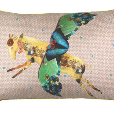 Horse-fly silk cushion