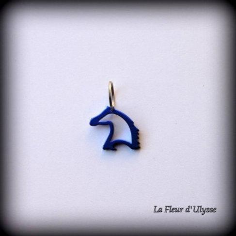 """Porte*clés tête de cheval décapsuleur """"bleu"""""""