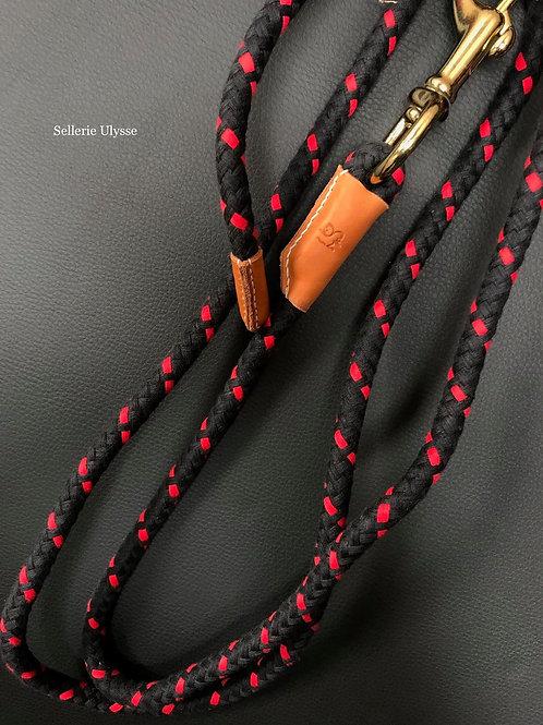 Longe en corde coton Noire / Rouge & cuir Fauve