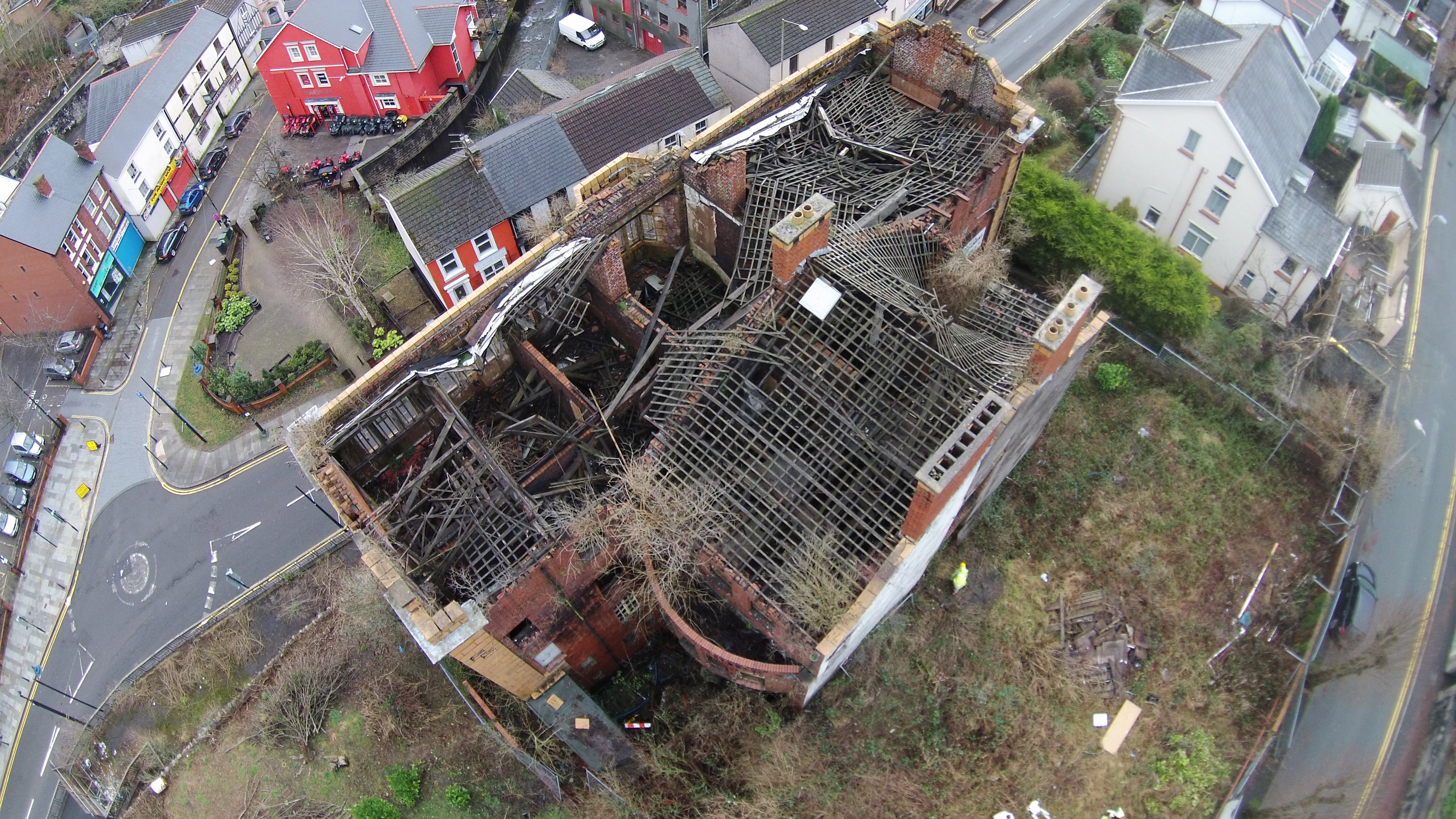 Aerial View of Dangerous Structure