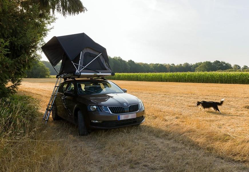 acampada libre con una tienda de techo para el coche